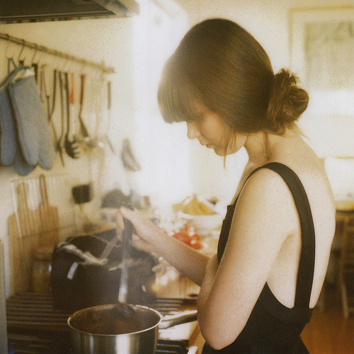 beauty, cooking, dress, expression, face, girl, hair, kitchen, klischee, life, room, sad, women, work
