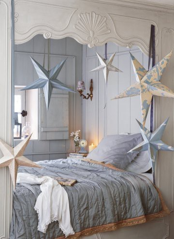 bed, bedroom, blue, bright, cute, decor, girly, interior, interior decorating, interior design, lovely, pastel, pretty, room, stars, stars room bed, theme, vintage