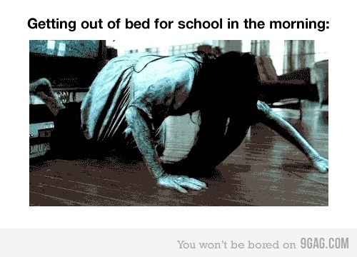 bed, fuck school, funny, haha, hair