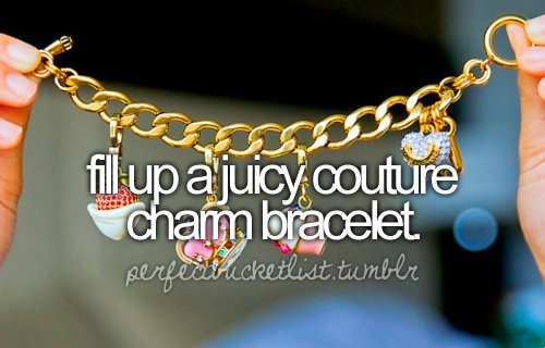before i die, bracelet, charm, colours, fashion, juicy couture
