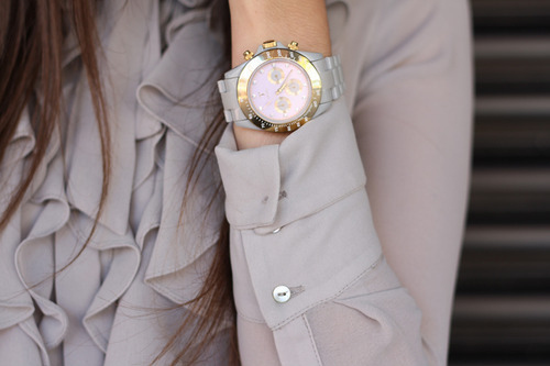 beige, blouse, clock, gold, shirt