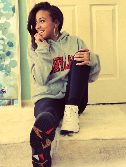 big sweater, biting finger, black girl, black jeans, cute, jordans, mixed girl, photography, pretty, sneakers, swag
