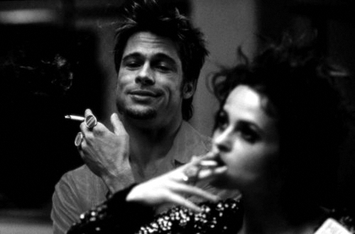 black & white, brad pitt, fight club, film, helena bonham carter