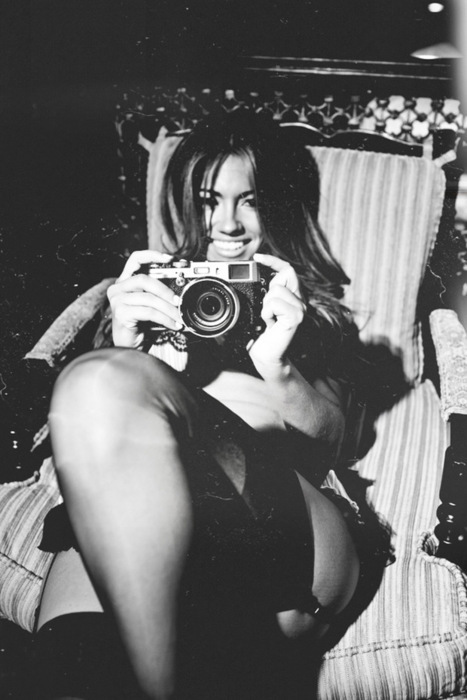 black and white, camera, girl and photography