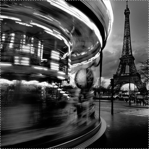 black and white, carousel, eiffel, eiffel tower, france