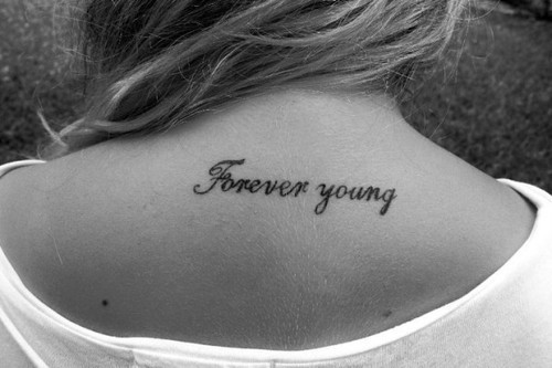 black and white, cute, forever, forever young, girl, tattoo, young