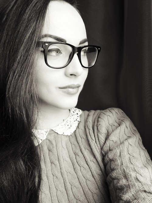 black and white, girl, glasses, idda van munster, retro