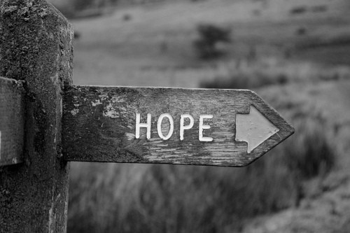 black and white, hope, photography, quote, sign
