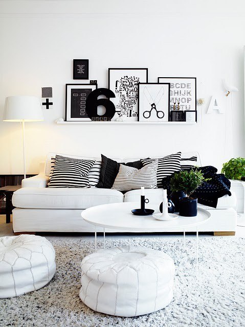 black, black and white, couch, cushions, decorate