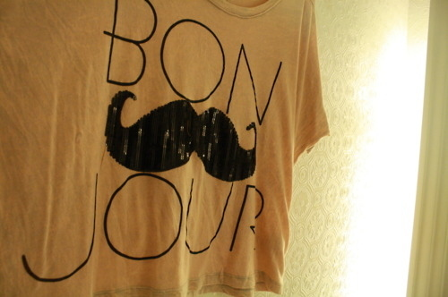 black, bonjour, brown, camerl, cute, fashion, french, moustach, sequins, t-shirt, tee, words