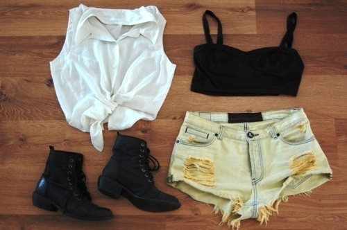 black, boots, bralet, clothes, cute, fashion, floor, photography, shirt, shorts, summer, white, wood