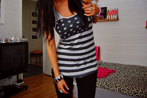 black, bracelet, brunette, fashion, jeans, ring, stars and stripes, tank, top, usa, usa grey shirt