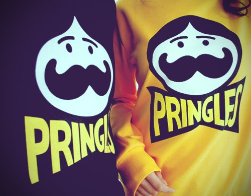 black, couples, cute, food, love, moustache, mustache, pringles, shirt, sweatshirt, yellow