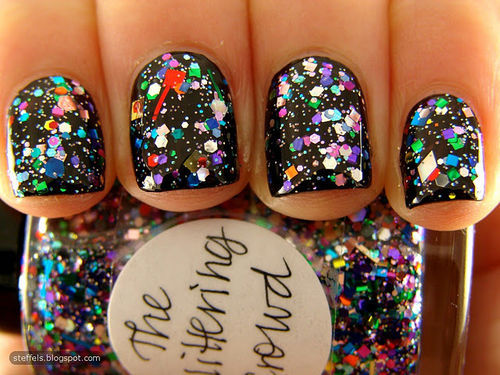 black, cute, love, nails, pretty, sparkles