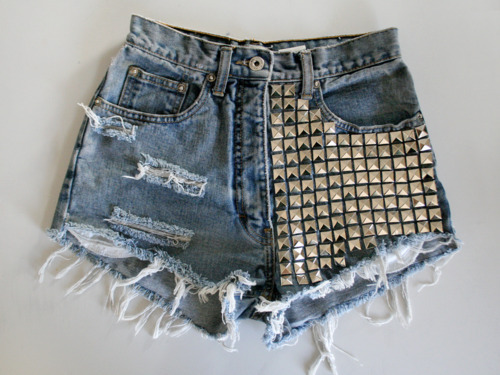 black, denim, details, fashion, shorts, studs