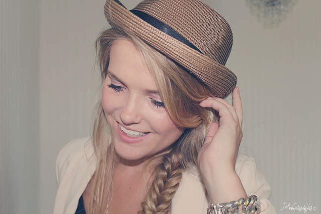 blond, fish braid, girl, hair, hat
