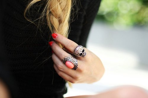blonde, braid, fashion, girl, red, ring, rings