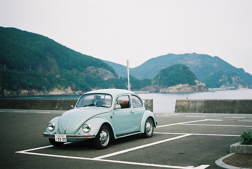 blue, car, drive, hipster, indie, moutains, ocean, place, sea, vintage car