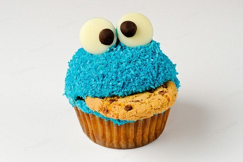 blue, cookie, cookie monster, cupcake, cute, delicious, elmo, frosting, yummy