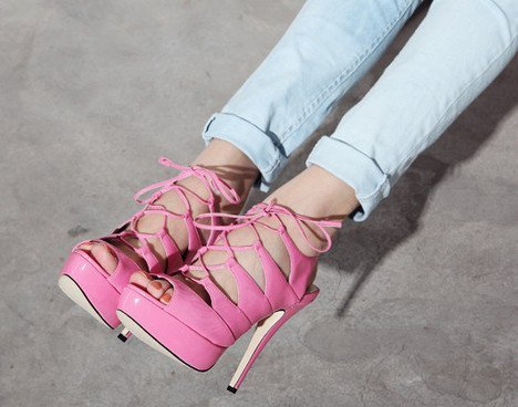 blue jeans, fashion, feets, girl, heels, high heels, hot, hot pink, jeans, nails, pink, shoes, skinny jeans, streili, style