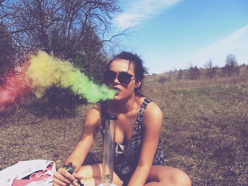 hippie woman smoking weed