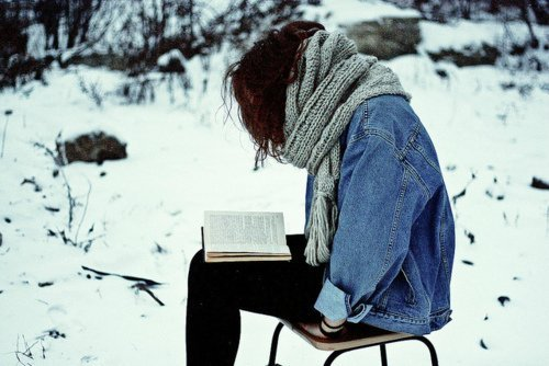 book, girl, reading, scarf, skarf