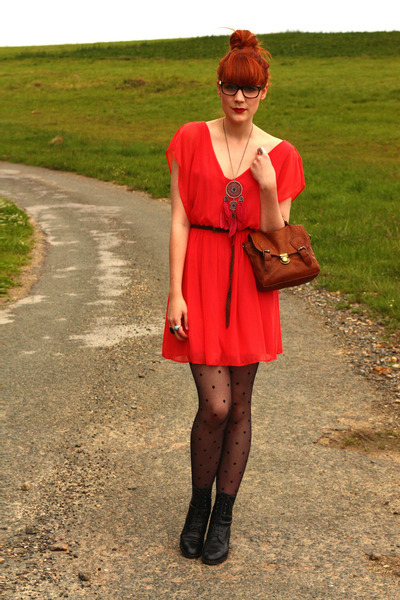 boots, dress, fashion, glasses, hipster, necklace, pretty, purse, red, tights