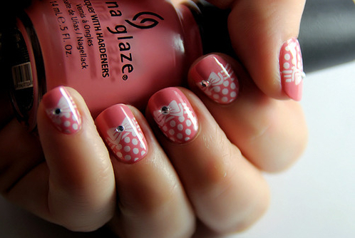 bow, china glaze, nail art, nails, nails polish, pink