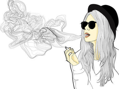 boy, colours, drawing, girl, girls, illustration, painting, smoke, tatoo