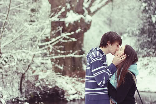 boy, couple, cute, girl, kiss, love, pretty, romantic, snow