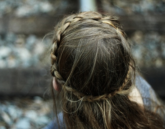 braid, braid crown, brown, faceless, hair, nature, outdoors, pretty, woods