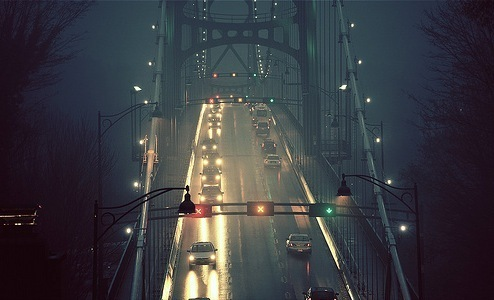 bridge, car, dark, lights, street