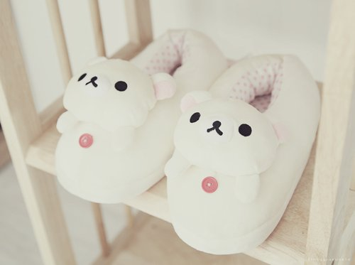 brown, cool, cute, japan, japanese, kawaii, pretty, stuff, rilakkuma, slipper, shoes, vintage, san-x, white, pastel, shelf, korilakkuma