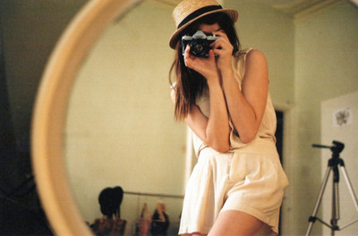 camera, girl, hat, mirror, photography