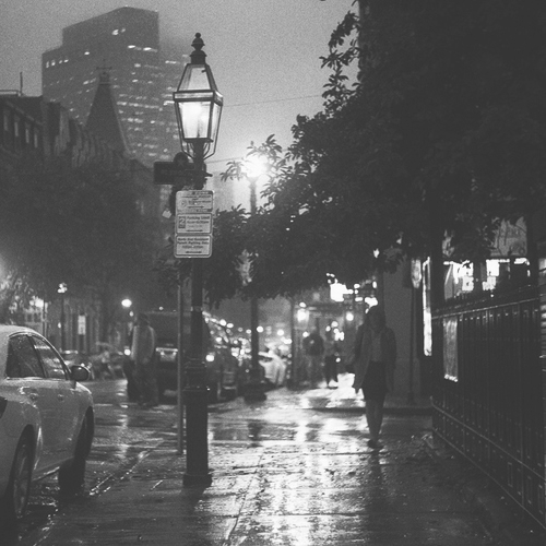 cars, city, city lights, lights, night, rain, street, urban