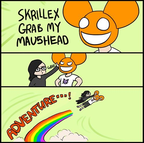 cat, cute, deadmau5, drawing, green, lol, mouse, rainbow, skrillex, sonny moore, text