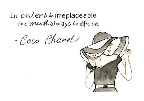 chanel, different, irreplaceable, quotes