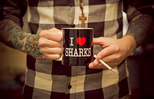 cigarrette, cute, i love sharks, man, mug, sharks, tattoo