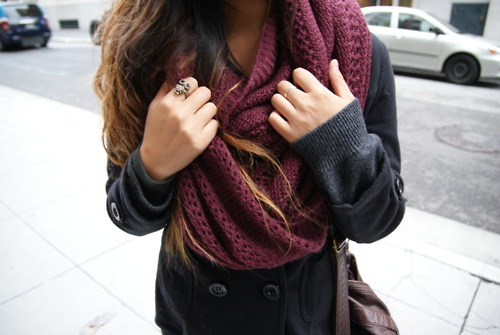 clothes, fall, fashion, girl, hair, outfit, owl, owl ring, pretty, ring, scarf, style
