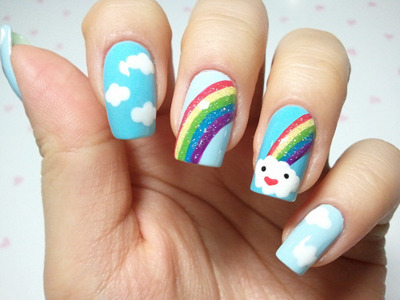 cloud, nail, nails, rainbow