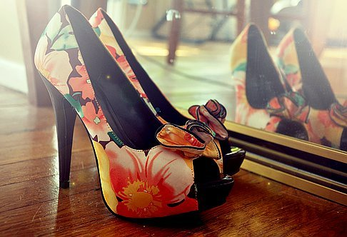 colored, fashion, flowers, heels, high heels