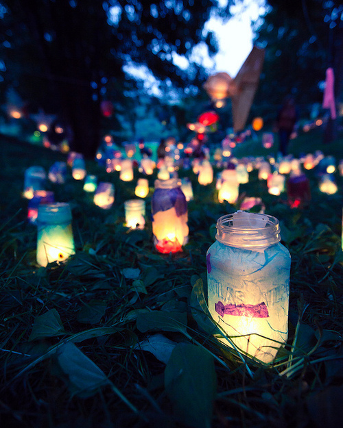 colorful, cute, glow, grass, lamps, lights, night, pretty