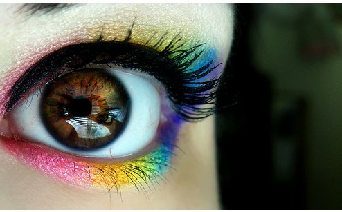 colors, colour, colourful, eue, eyelashes, eyes, face, fashion, glamour, make up, nice, paint, rainbow