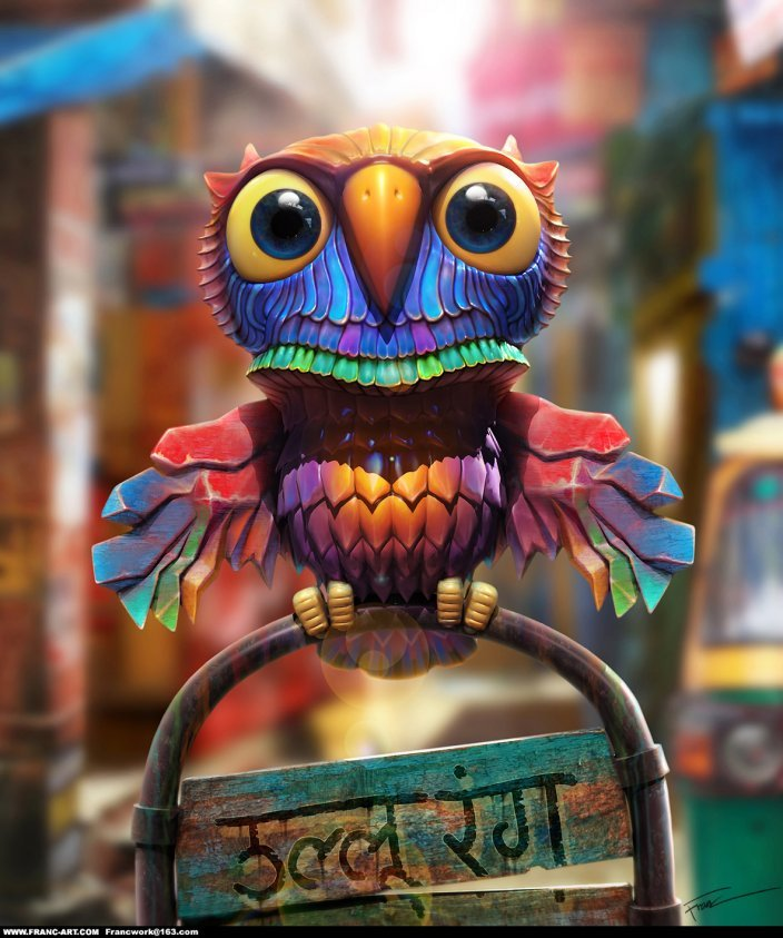 colourful, cute, digital, owl