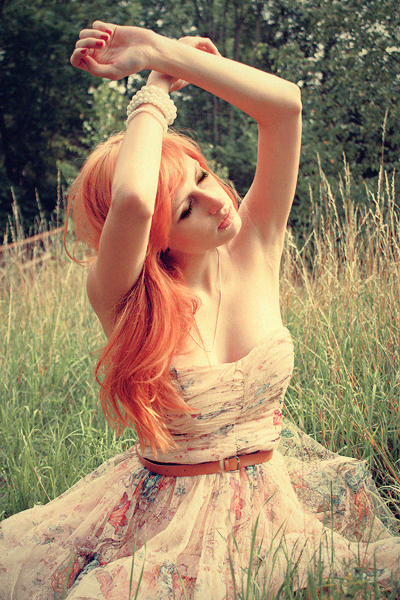 cool, cute, field, gentleness, girl, hair, light, orange hair, pretty, redhead, sun