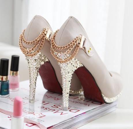 crystals, cute, diamond, gold, heels