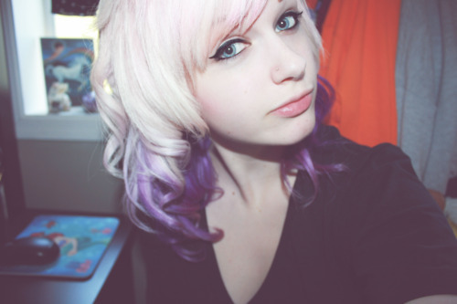 curls, girl, pink hair, purple hair
