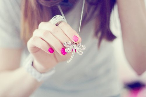cute, dragonfly, fashion, nails, necklace