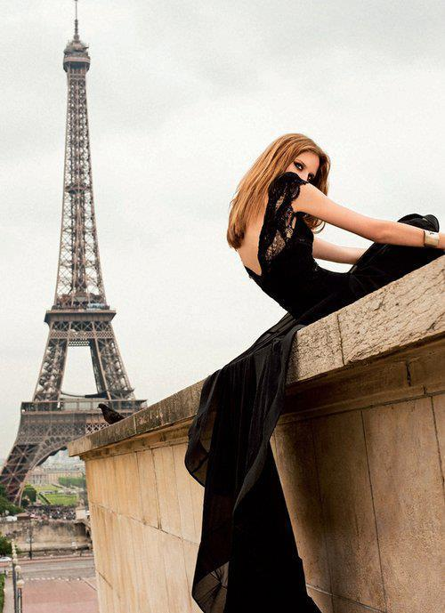 cute, dress, eiffel tower, fashion, girl