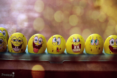 cute, eggs, laugh, paint, smile, smirk, spongebob, teeth, tongue, yellow